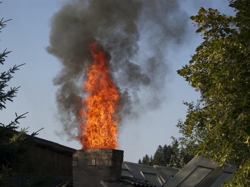 Pożar sadzy w kominie